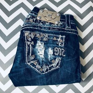 MISS ME   Buckle Studded Cuffed Capris